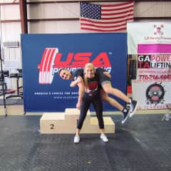Emily and I after a powerlifting competition.