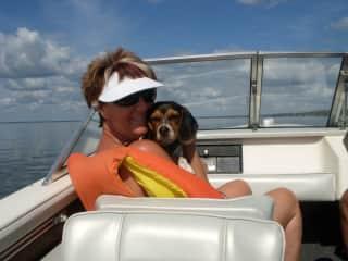 Sheila and Hobo having some lake fun