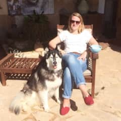 Ina with Lucy at our friends finca in Manacor, Mallorca.