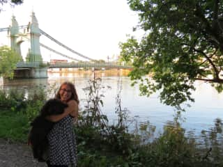 Sara and Pickles on a walk by the river in London