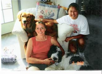 Julie and our daughter with Pearl & Junior.