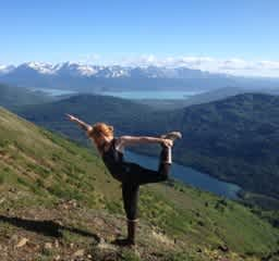 A little mid-hike stretching!