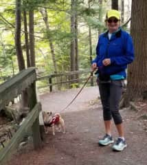 Bonita walking with Norah in Shubie Park, Nova Scotia.