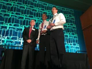Brad receiving Act of Valor award from President of Amtrak - 2017