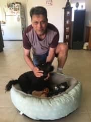 Clive with  Jack , a gorgeous  cavoodle.