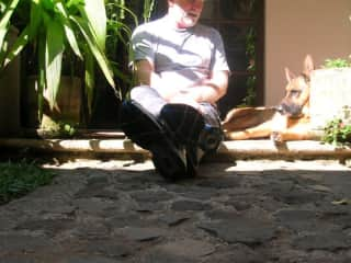 My morning chat with Nelson, in Antigua, Guatemala