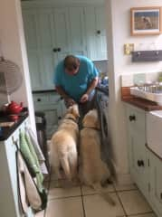 Crosby & Cody having treats
