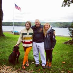 Skaneateles lake with my sister, dad, and (of course) Wallace