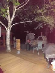 Time with friends and relatives on our deck with the piazza oven, fireplace and life-size Kenya.