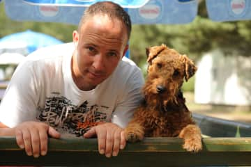 Aaron at age 36 with Noah (Welsh Terrier)