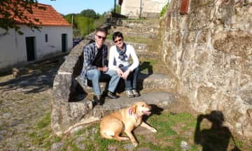 Hans and me with Pipa, Isabels dog (a Servas member in Portugal)