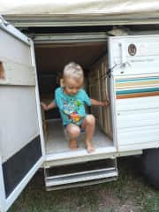 Our caravan with our little man