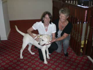 Patricia on the right, with Rhys the Guide Dog after raising  £7200 for his training