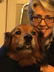 Me and my granddog, Penny.  She and I hang out a lot when the family is on holiday.