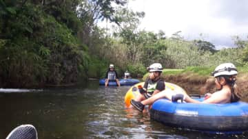 We love adventure! Here we are on our honeymoon in Hawaii on a lazy river float.