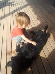 Isaac loves dogs!