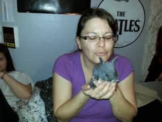 My wife with a baby bunny