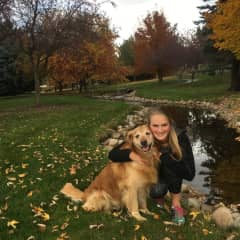 Sofia with Charlie on our favorite daily walking path