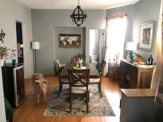 Dining room and half bath (and Odin photo bomb!).