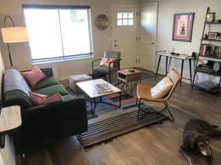 home's front entrance into living room