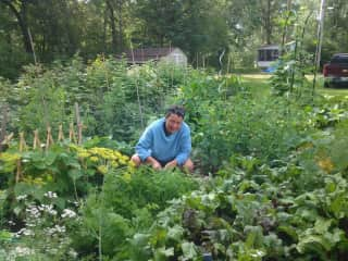 Karen in her veggie garden