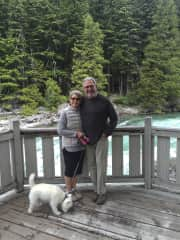 Diana & Marty hiking with Brix in MT