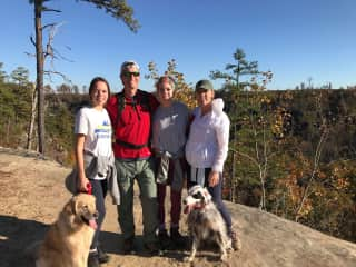 This is (some of) my family - my mom, dad, sister (Caroline), and two dogs (Gus and Patch.) My whole family loves to hike and we often take the dogs along with us!