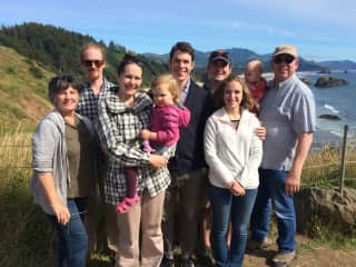 The whole family in the Oregon coast in 2016.