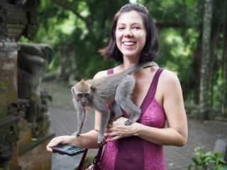 The monkeys loved me in Bali!!!