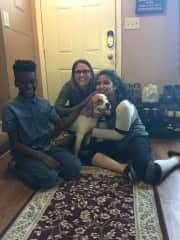 me, two of my kids, and our dog, Dixie