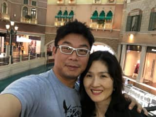 Me and My husband Song-wan. We seldom take selfie together. We each busy taking great moment of life. Just to show our appreance.