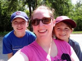 Sara, Nora and David Biking in Missouri