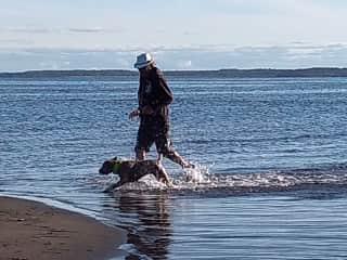 Gary and Morgan having fun in the water.