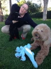 Dana with Pepé and Archie in Los Angeles