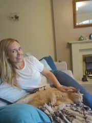 Me and our cat Bradley August 2019