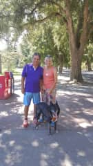 Jerry and Kim with Granddog Dakota, Davis, CA