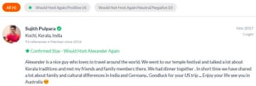 Review from Alex's Couchsurfing profile