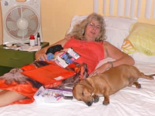 Pam with Charlie dog in Cuba