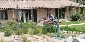 Frank on ride-on mower