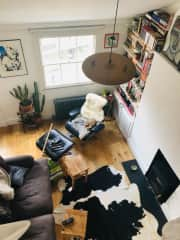 Half the living room - view from mezzanine bedroom