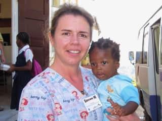 Susan volunteering in Jamaica.