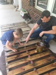 Since the pandemic struck, we've been staying with my brother in Georgia, and we've undertaken projects such as making furniture from pallets to spruce up the place.