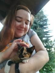 Tiny kitten enjoying some cuddles (Ania enjoing them too!)