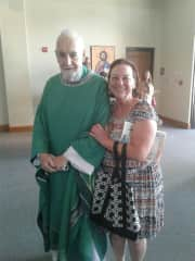 Me with Father Sean Connery. I volunteer to teach Catechism Classes.