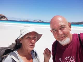 Veronique and Marcel walking Lucky bay near Esperance WA