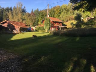Garden and chalet In the summer with pickle!
