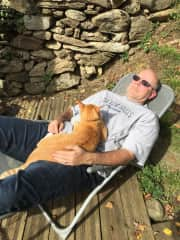 Ernie in France with George, the most vocal cat we have ever met!