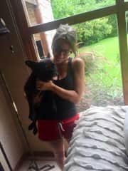 Tati with India, her dad's dog.