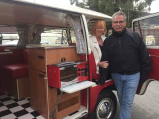 Ted and Claudia in our 1970 VW Bus