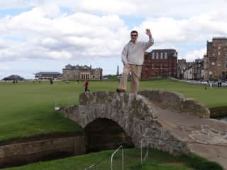 Golf!  Mark at St. Andrews in Scotland